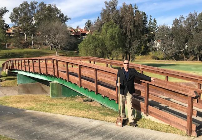 Chris Hayman, golf course superintendent, at bridge on No. 1