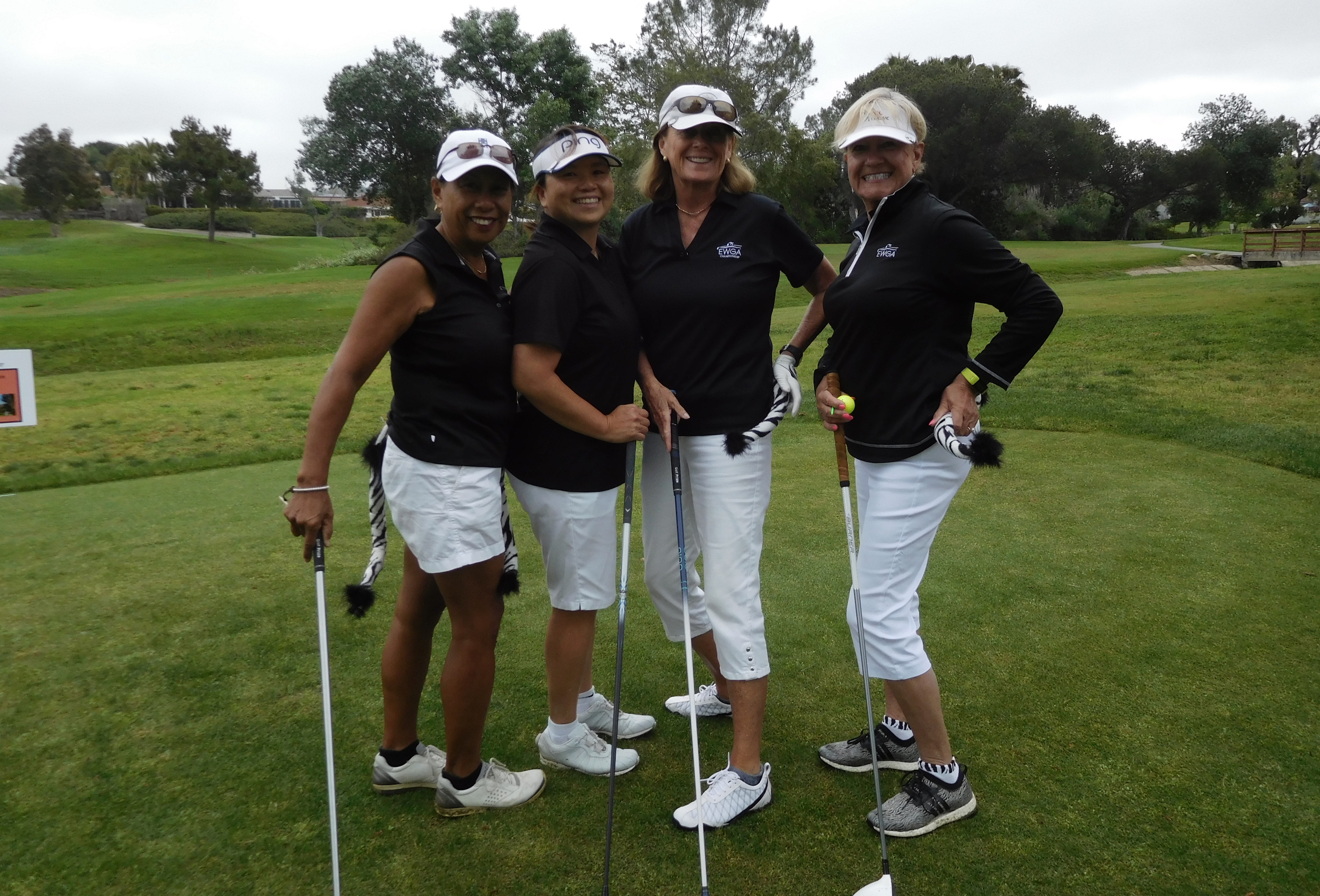 Annette Hirt, Mindy Sam Davis, Cretia Hadley and Chris Shorkey have fun with zebra outfits